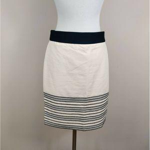 J Crew Size Pencil Skirt Beige w/ Black Stripe